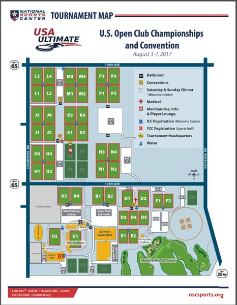 Event Field Map Play USA Ultimate - Us open grounds map 2017