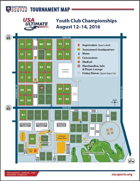 National Sports Center Field Map Event Field Map | Play USA Ultimate