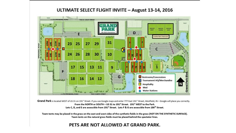 Event Field Map | Play USA Ultimate